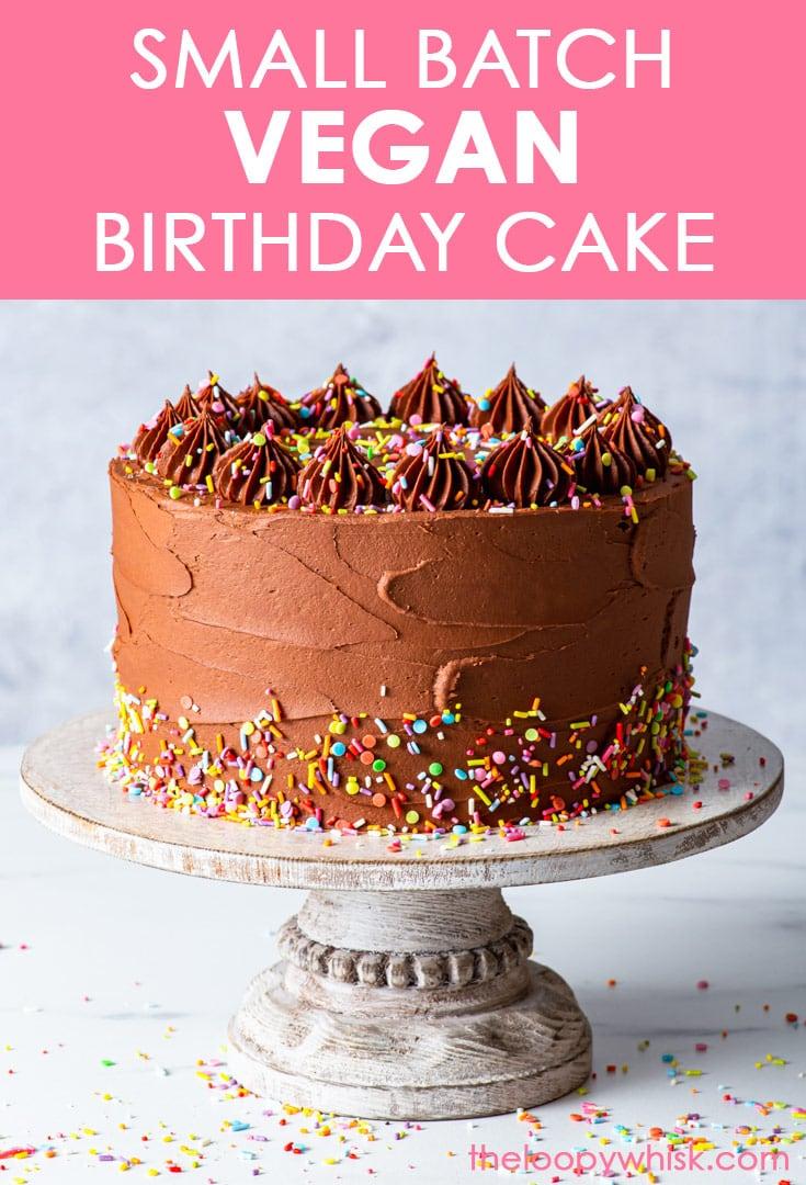 Pinterest image for small batch vegan birthday cake.