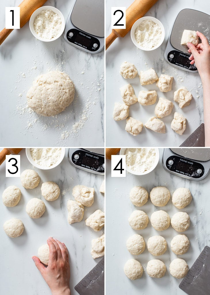 The 4-step process of dividing and pre-shaping gluten free tortilla dough.