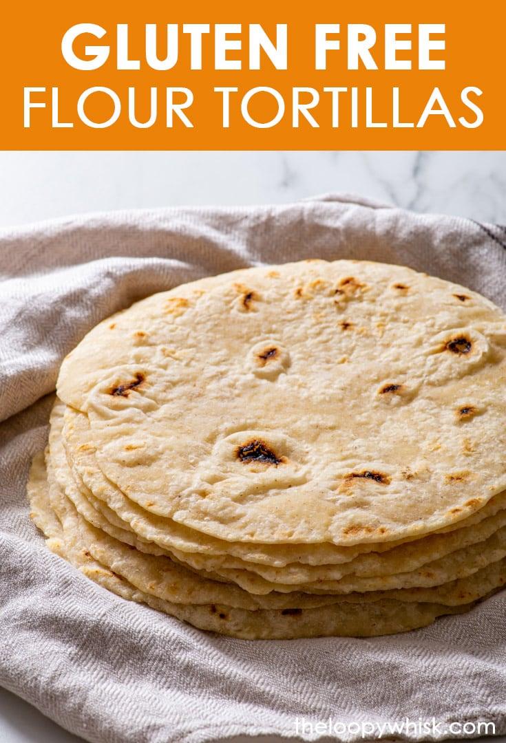 Pinterest image for gluten free flour tortillas.