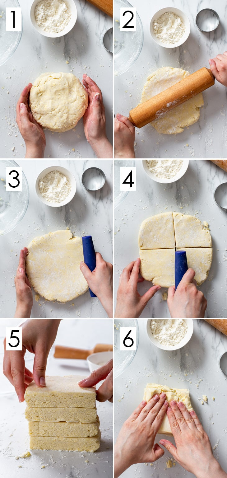 The 6-step process of laminating the gluten free biscuits.