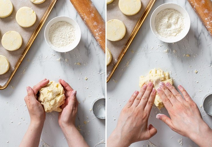 The process of re-using the scraps to make more buttermilk biscuits.
