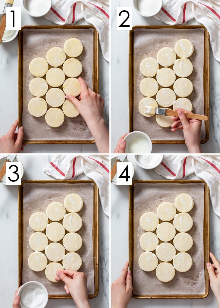 The 4-step process of assembling the gluten free buttermilk biscuits.
