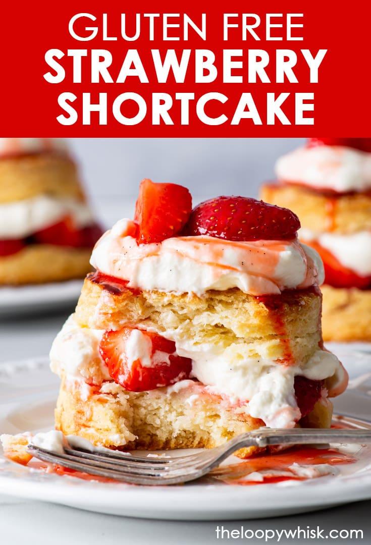Pinterest image for gluten free strawberry shortcake.