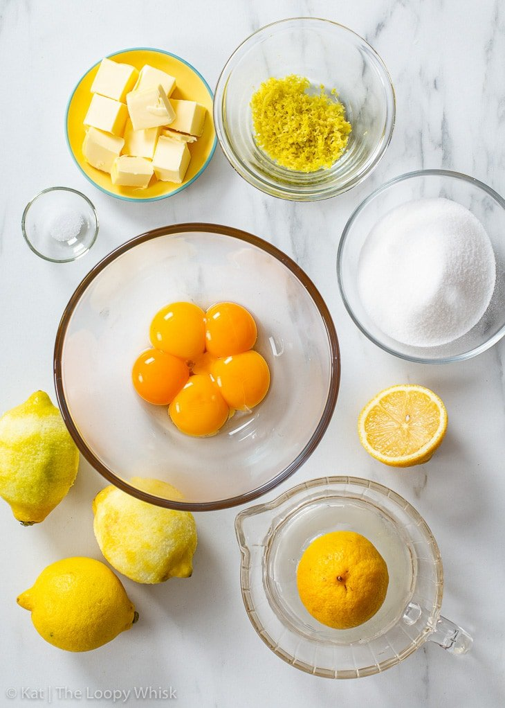 The ingredients required to make homemade lemon curd.