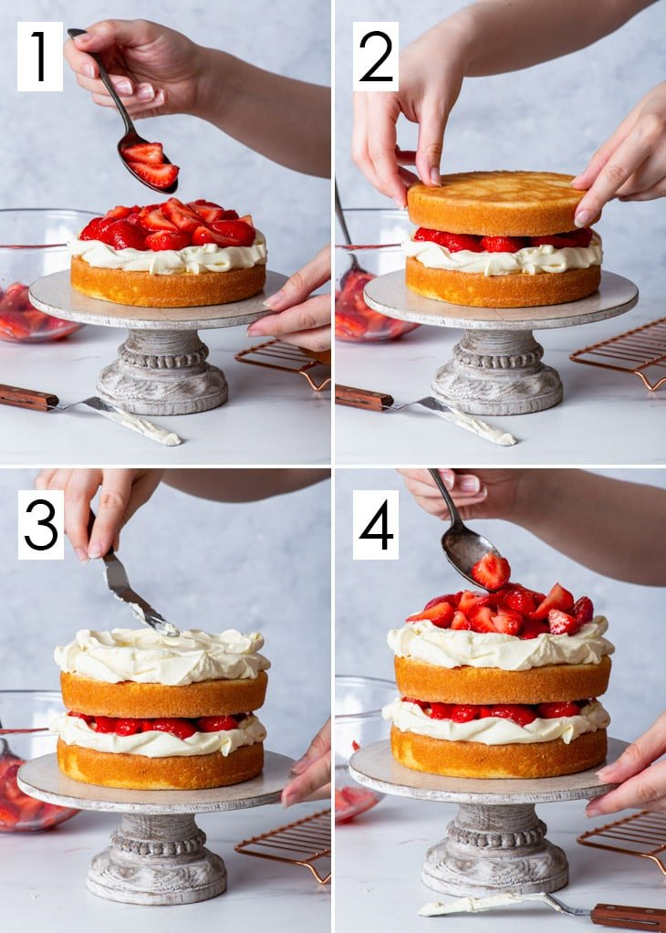 The 4-step process of assembling the gluten free strawberry shortcake cake.