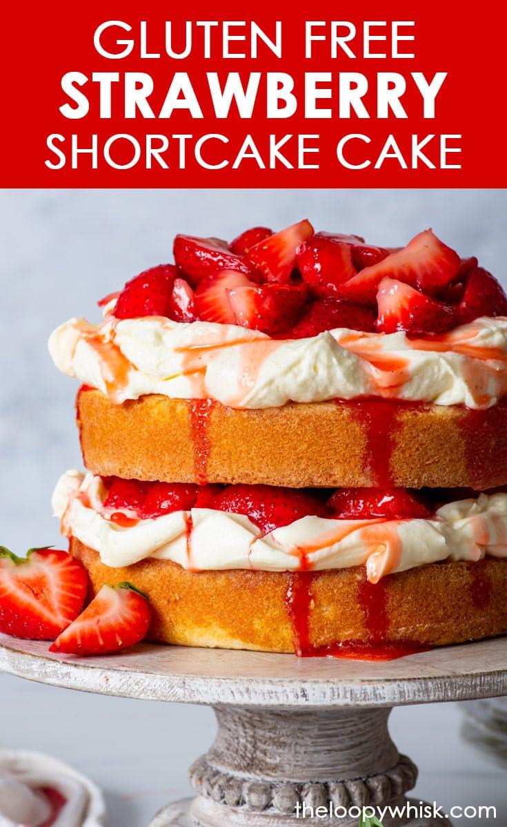 Pinterest image for small batch gluten free strawberry shortcake cake.