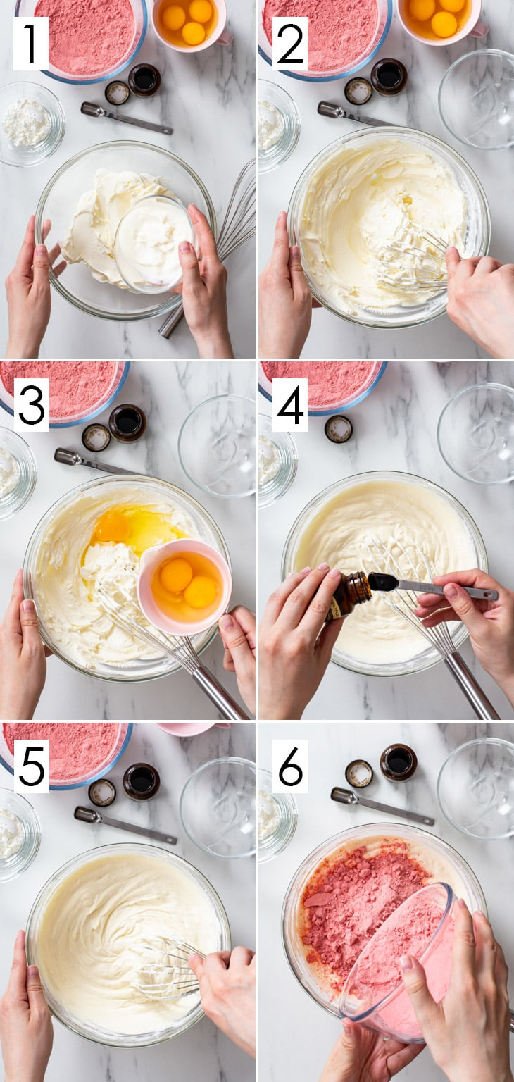 The first 6 steps of the 12-step process of making the strawberry cheesecake.