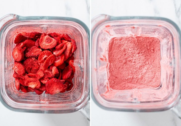 Blending the freeze dried strawberry slices and sugar in a blender into a fine powder.