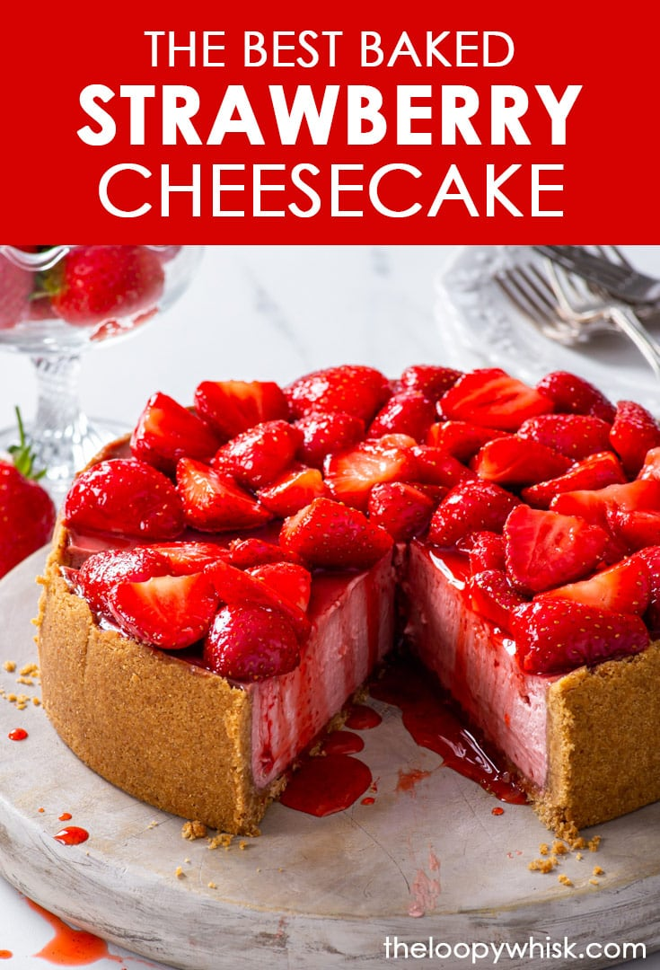 Pinterest image for strawberry cheesecake.