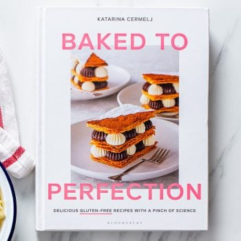Overhead view of my gluten free baking book, Baked to Perfection.