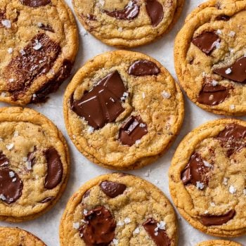 Overhead view of gluten free chocolate chip cookies.