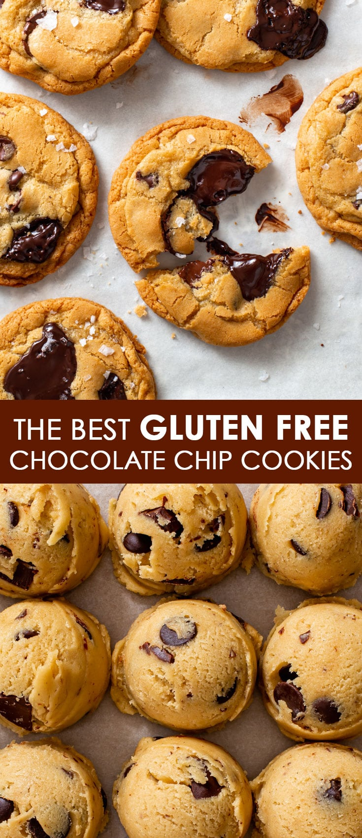Pinterest image for gluten free chocolate chip cookies.
