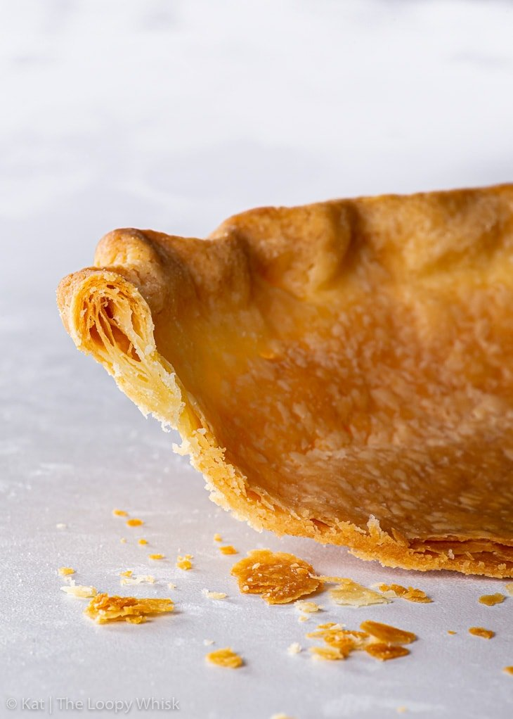 Cross section of the gluten free pie crust, showing its flakiness.