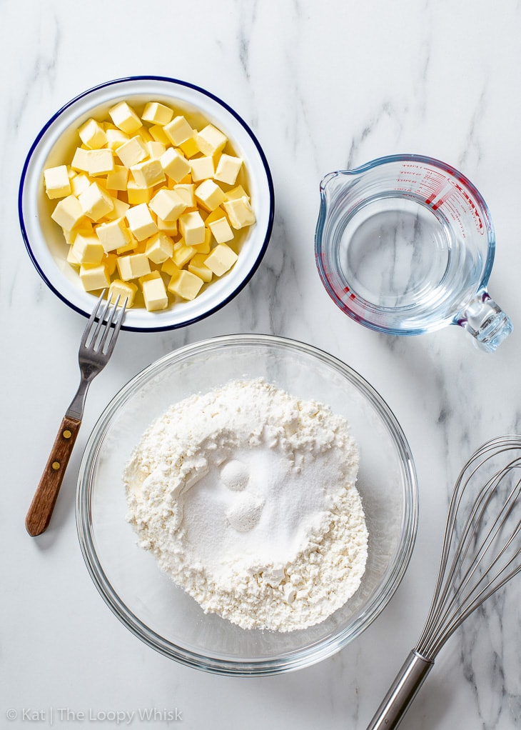 The ingredients of gluten free pie crust.