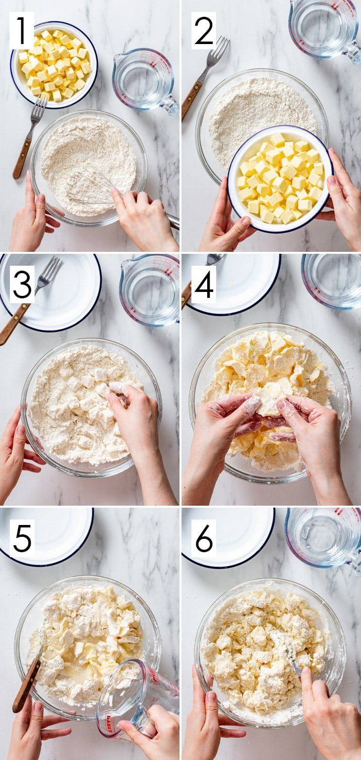 The first 6 steps of the 10-step process of making gluten free pie dough.