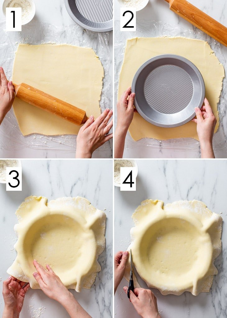 The first 4 steps of the 8-step process of assembling a single-crust gluten free pie.
