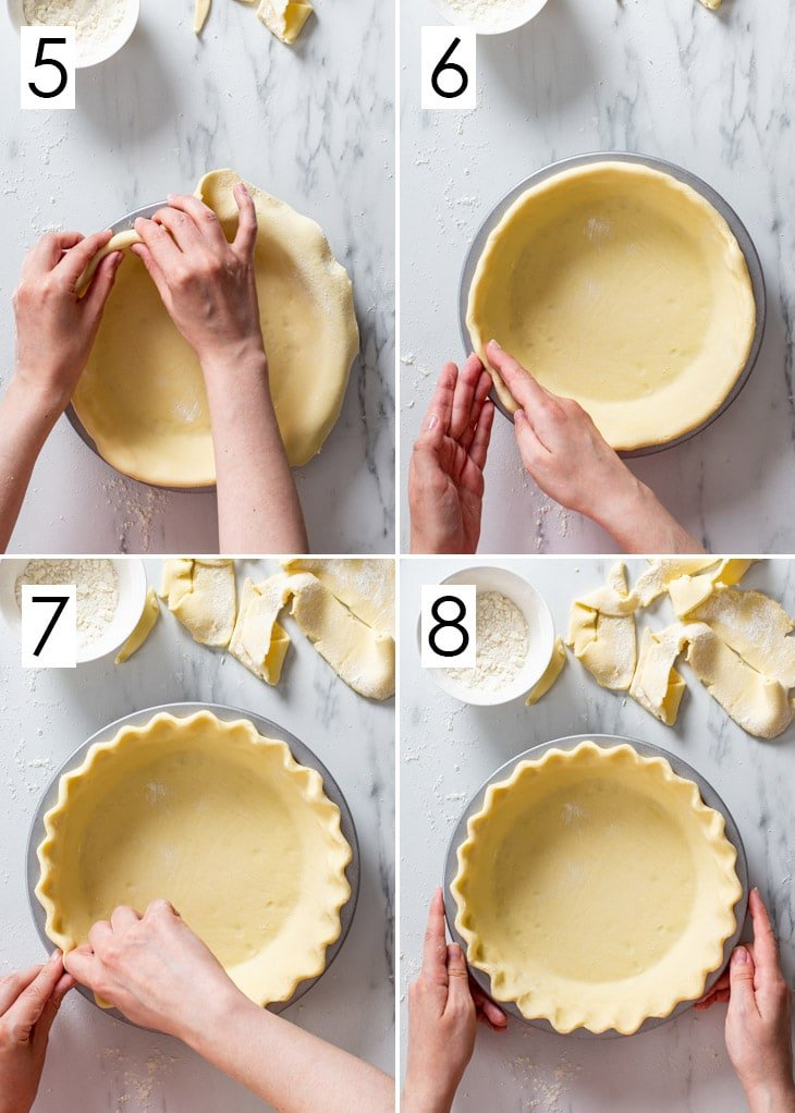 The last 4 steps of the 8-step process of assembling a single-crust gluten free pie.