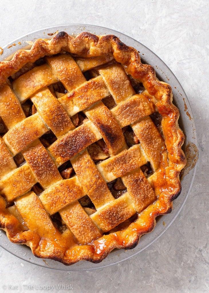 Overhead view of a gluten free apple pie.