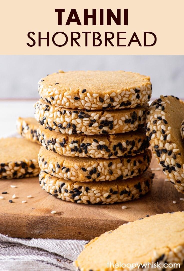 Pinterest image for gluten free tahini shortbread cookies.