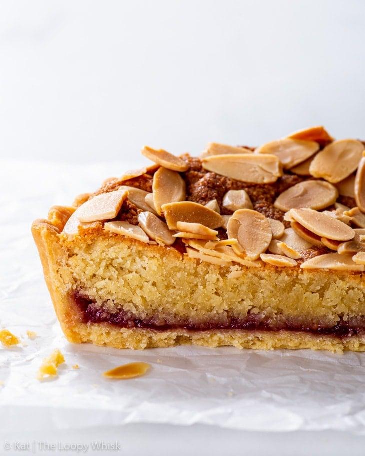 Cross section of the vegan Bakewell tart.