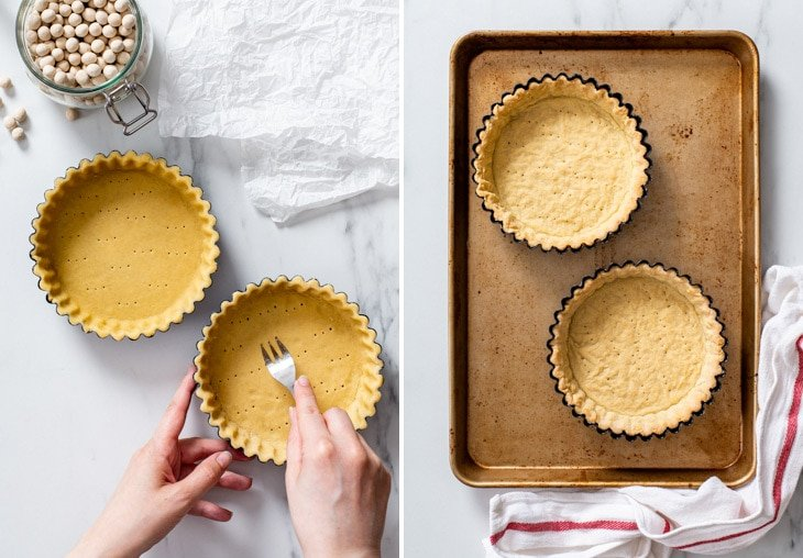 The process of blind baking the vegan shortcrust pastry.