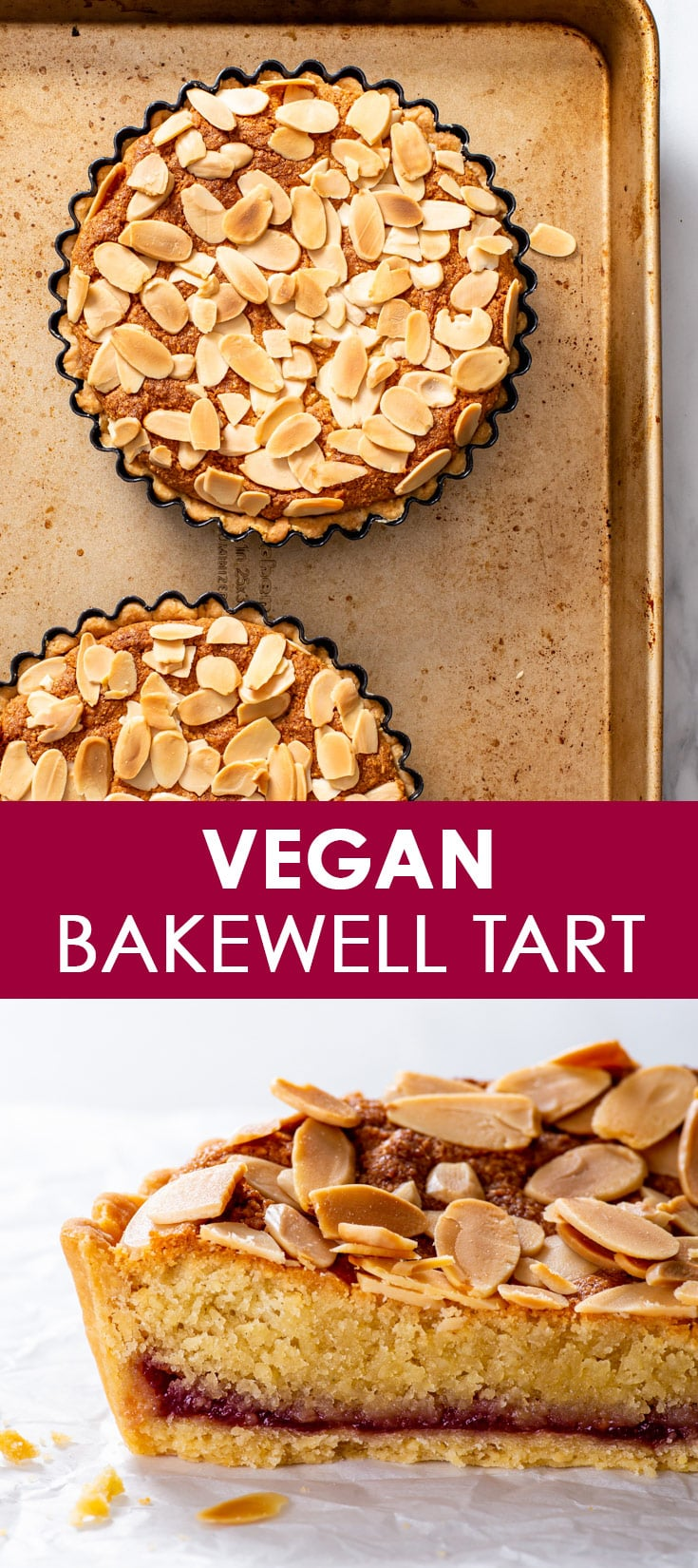 Pinterest image for vegan Bakewell tart.