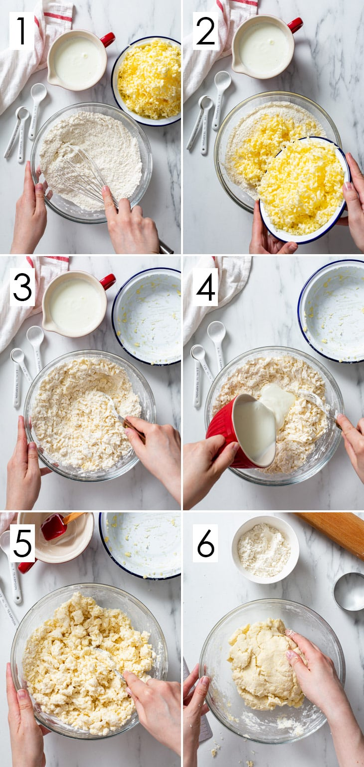 The 6-step process of making gluten free biscuit dough.
