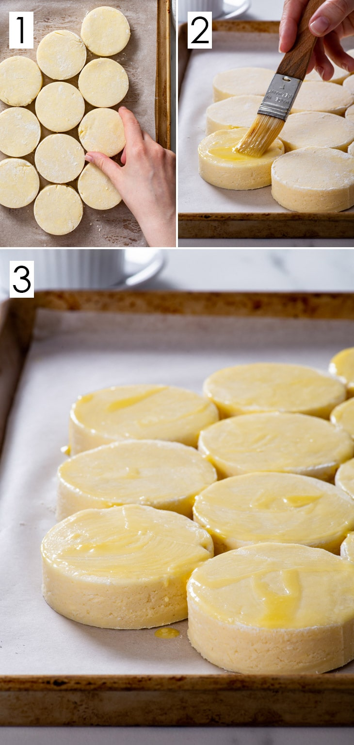 The 3-step process of assembling and baking gluten free biscuits.