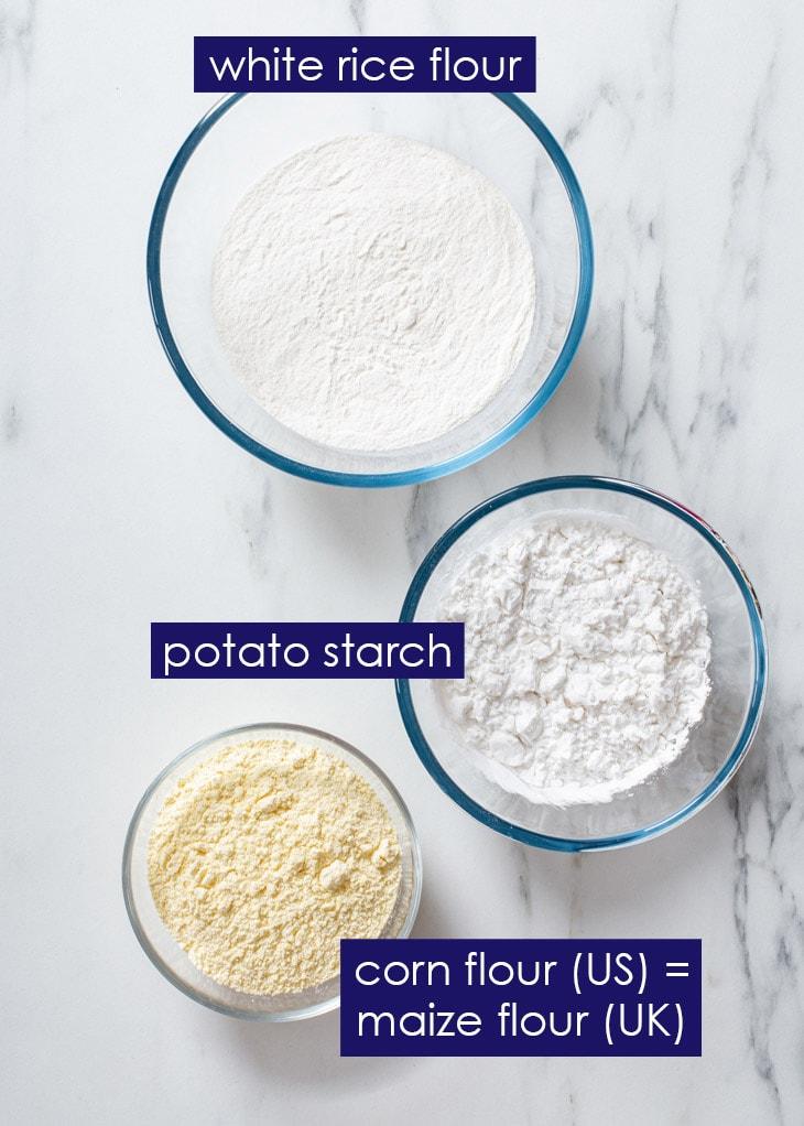 The three ingredients of homemade gluten free flour blend.