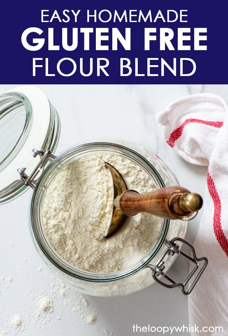 Pinterest image for homemade gluten free flour blend.
