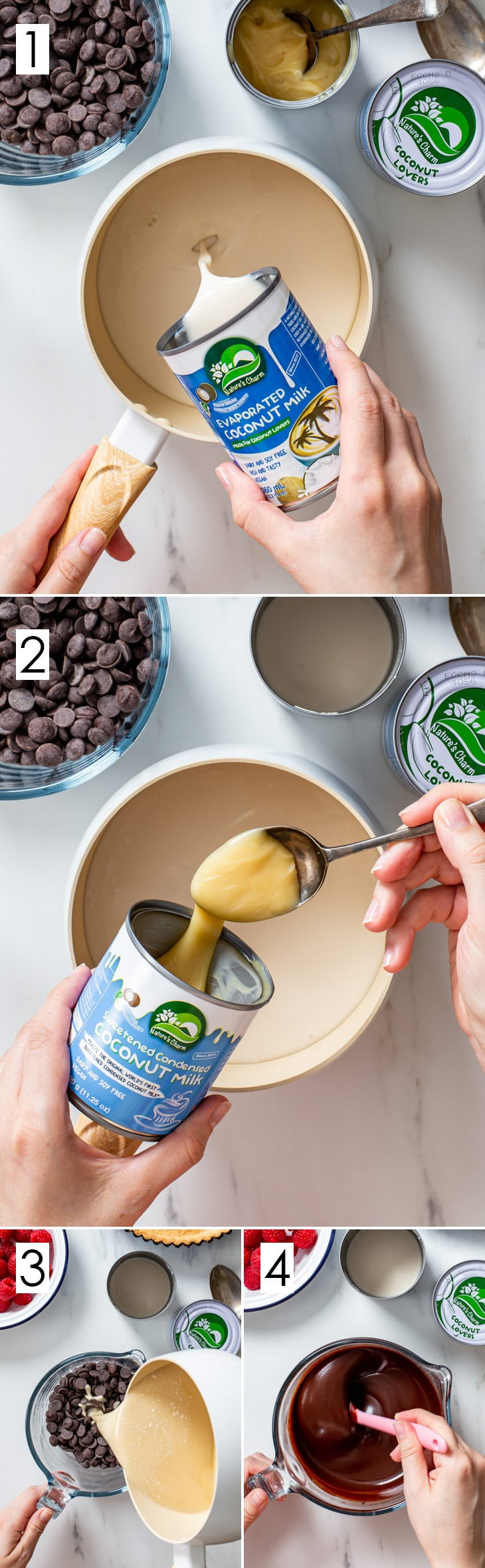 The 4-step process of making the vegan chocolate ganache filling.