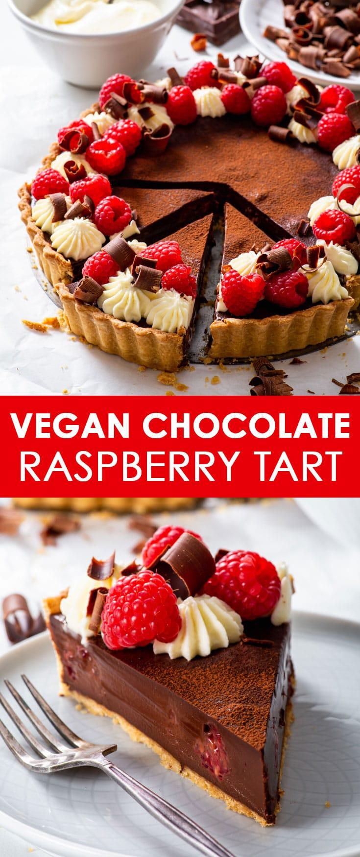Pinterest image for vegan chocolate & raspberry tart.