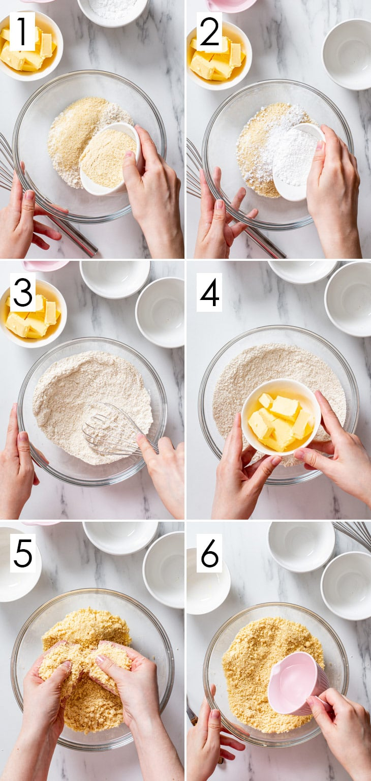 The first 6 steps of the 10-step process of making vegan shortcrust pastry.