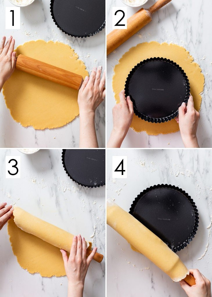 The first 4 steps of the 8-step process of assembling the vegan tart shell.