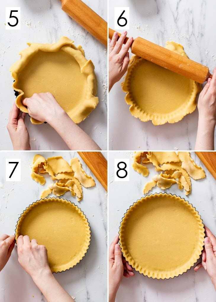 The last 4 steps of the 8-step process of assembling the vegan tart shell.