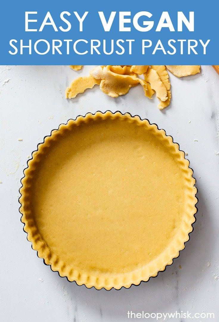 Pinterest image for vegan shortcrust pastry.