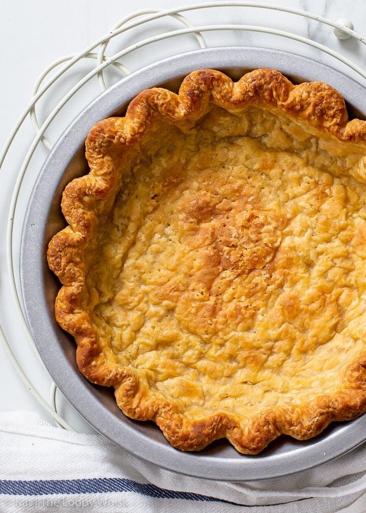 Overhead view of the blind-baked vegan pie crust.