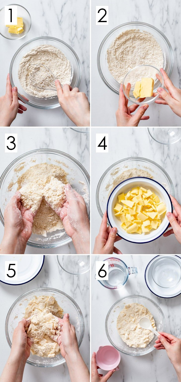 The first 6 steps of the 10-step process of making vegan pie dough.