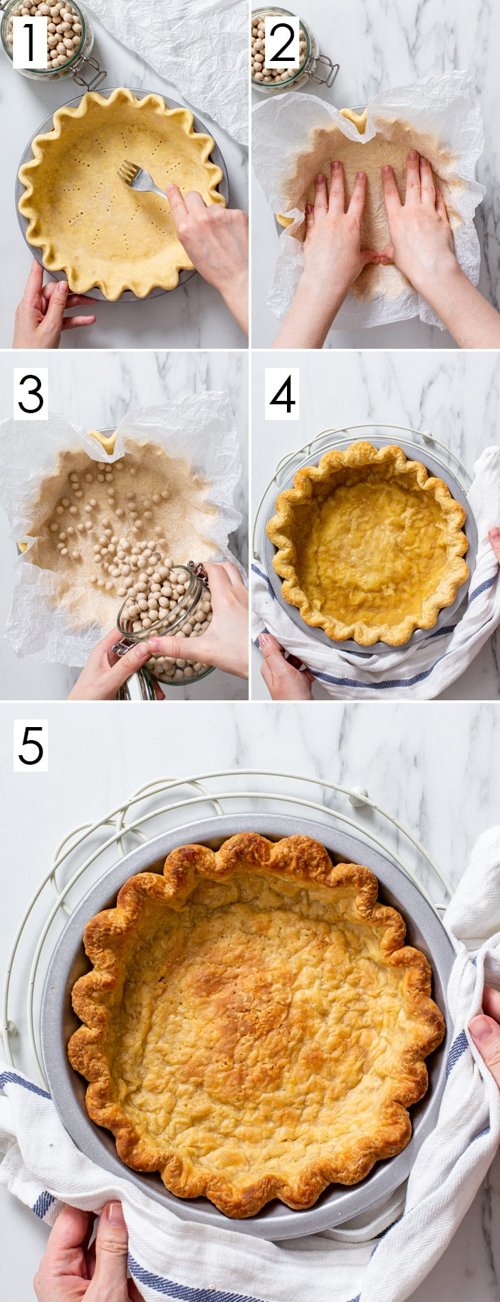 The 5-step process of blind baking the vegan pie crust.