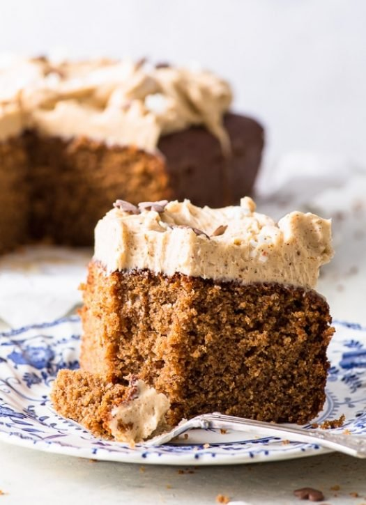 Gingerbread Sheet Cake with Cinnamon Frosting (Gluten Free) - This simple gingerbread sheet cake is topped with a delicious cinnamon frosting – a match made in heaven. The perfect Christmas dessert that couldn't be easier to make. Gluten free cake recipe. Gluten free dessert recipes. Christmas cake. Easy gingerbread recipe. Quick cake recipe. Simple sheet cake. Christmas frosting recipe. #gingerbread #christmas #cake